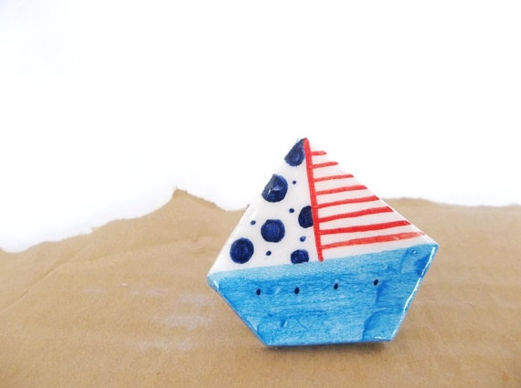 Blue dot ceramic sailing boat ring by IoannasVeryCHic on Etsy, 14.00