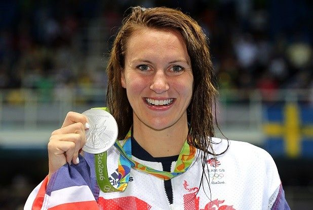 Jazz Carlin with her Olympic silver in the 400m. freestyle at Rio 2016