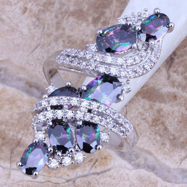 Shiny Rainbow Mystic White Topaz 925 Sterling Silver Ring For Women Size 6 7 8 9 Free Shipping & Jewelry Bag S0218
