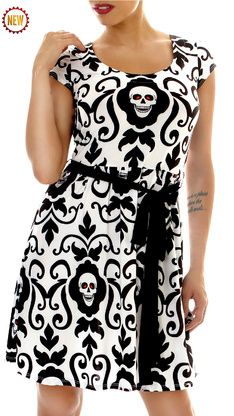 Endangered Damask Skull Dress AVAILABLE @ Modern Grease Clothing & Accessories Co