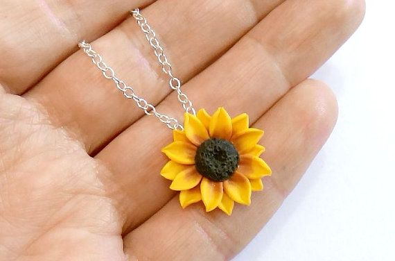 Sunflower necklace made of polymer clay - Fimo manually. My flowers are made with great love and give a sense of spring and innocence. Special