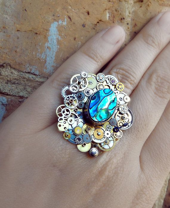 Abalone steampunk ring watch gear ring art by CindersJewelryDesign