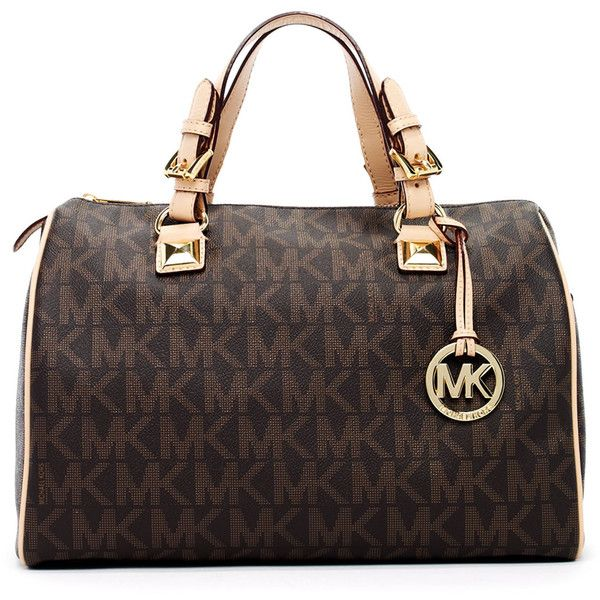 Womens MICHAEL Michael Kors Grayson Large Logo Satchel Bag, Brown ($328) liked on Polyvore