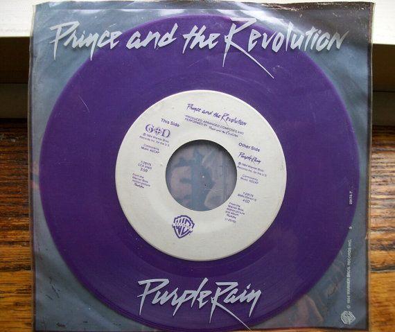Prince Purple Rain 45 Record 7 Purple Vinyl G/ by BrooklynDigs