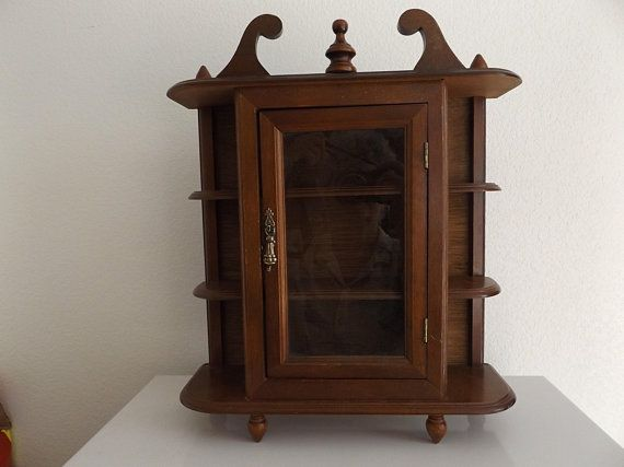 Vintage Small Wood Curio Cabinet With Glass Door Hanging Shelf
