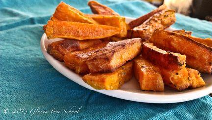 Gluten-Free Sweet Potato Fries — Recipe created by Jennifer Fugo of GlutenFreeSchool.com