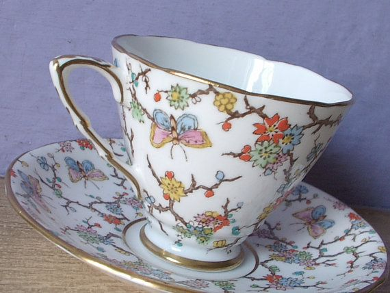 Antique Royal Stafford butterflies tea cup set, hand painted tea cup and saucer set, English tea cup set, bone china tea set from the 1940s