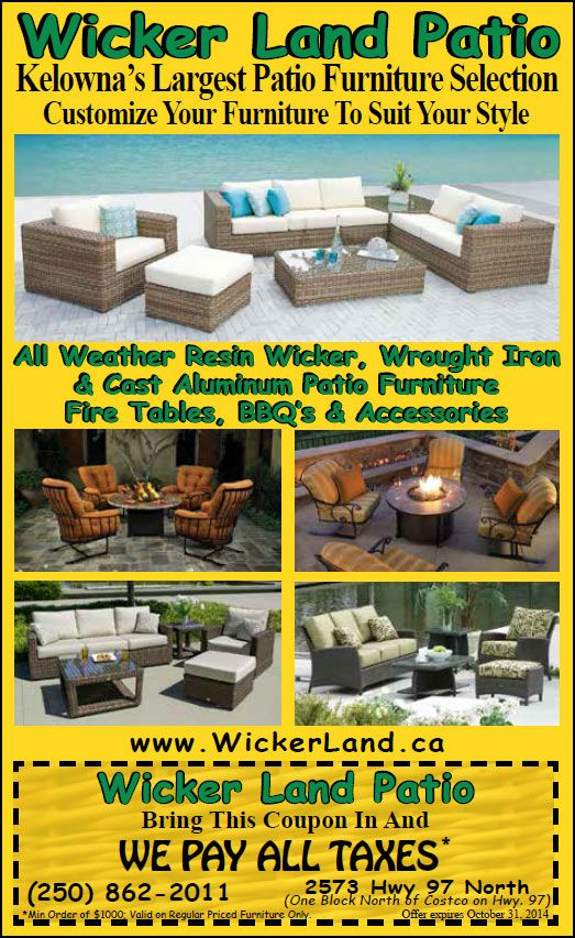 Wicker land patio in Kelowna, BC