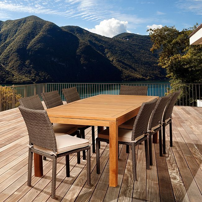 Amazonia Teak Sofia 9-piece Teak and Wicker Outdoor Dining Set (Light Brown and Grey), Size 9-Piece Sets, Patio Furniture