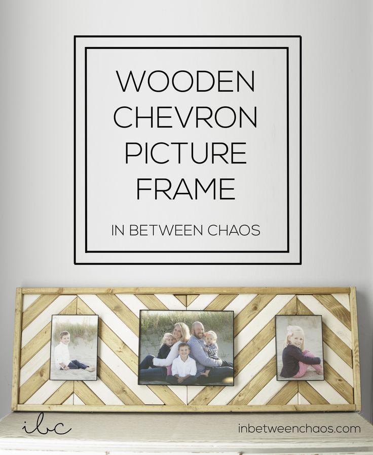 Wooden Chevron Picture Frame | inbetweenchaos.com #DIY #Homedecor #wood #pictureframes