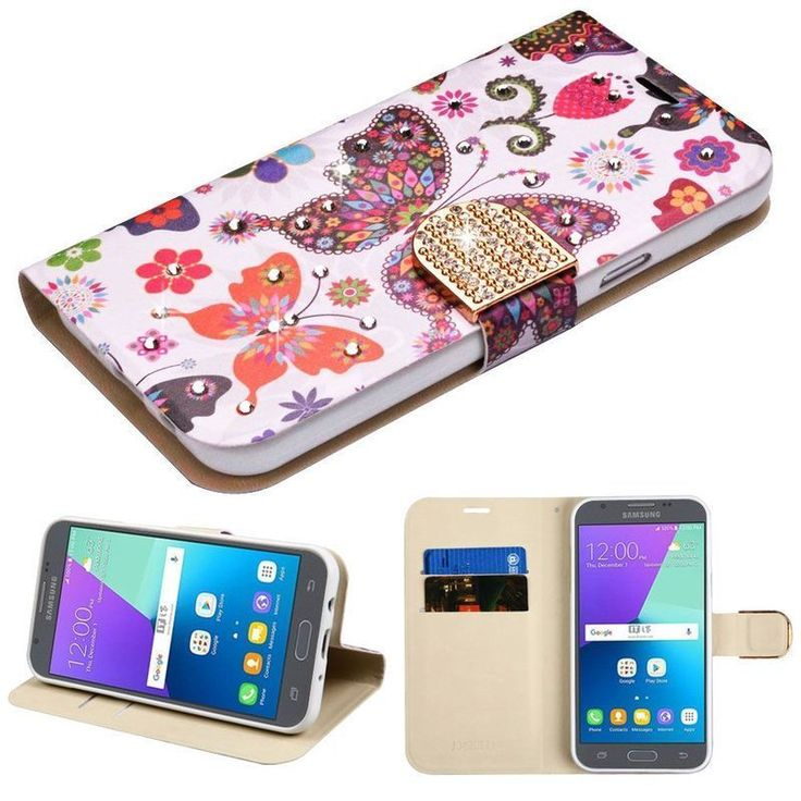 Insten / White Butterfly Wonderland Leatherette Case Cover with Stand For Samsung Galaxy Express Prime 2/ J3