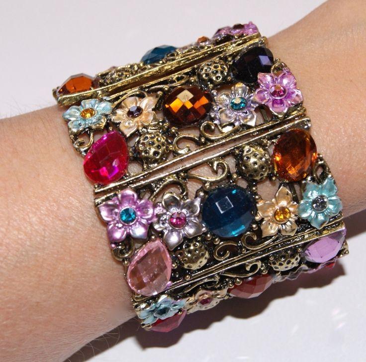 "Metalen  Armband  multicolor GOUD  ""Flower Princess  "" met gekleurde glinsterstenen - one size - Metal Bracelet "" Flower Princess "" GOLD and …"