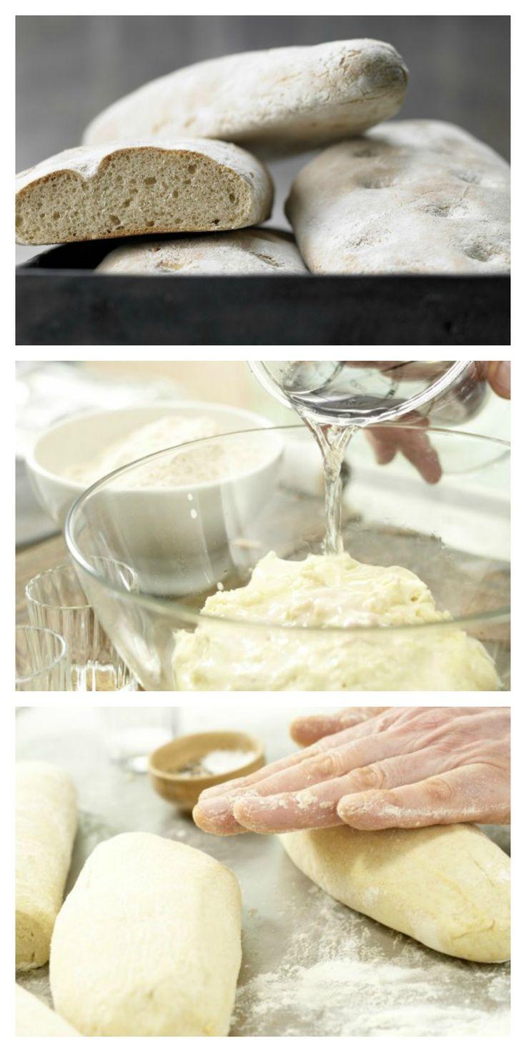 Außen knusprig, innen schön locker – das italienische Brot passt immer: Ciabatta mit frischer Hefe und Olivenöl | http://eatsmarter.de/rezepte/vollkorn-ciabatta