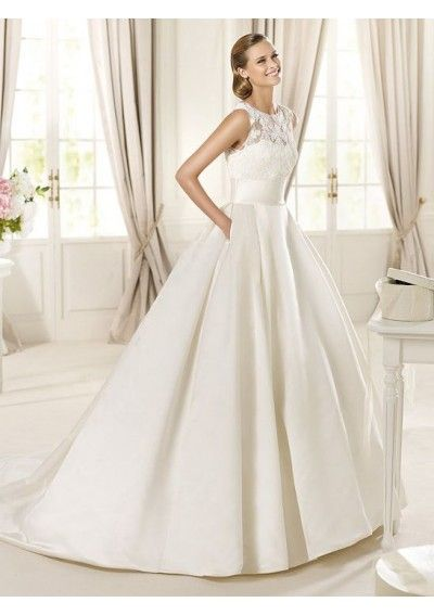 Wedding dress online shop - Satin and Lace Illusion Jewel Neckline Ball Gown Style with Lace Applique Bodice 2013 Wedding Dresses 333431