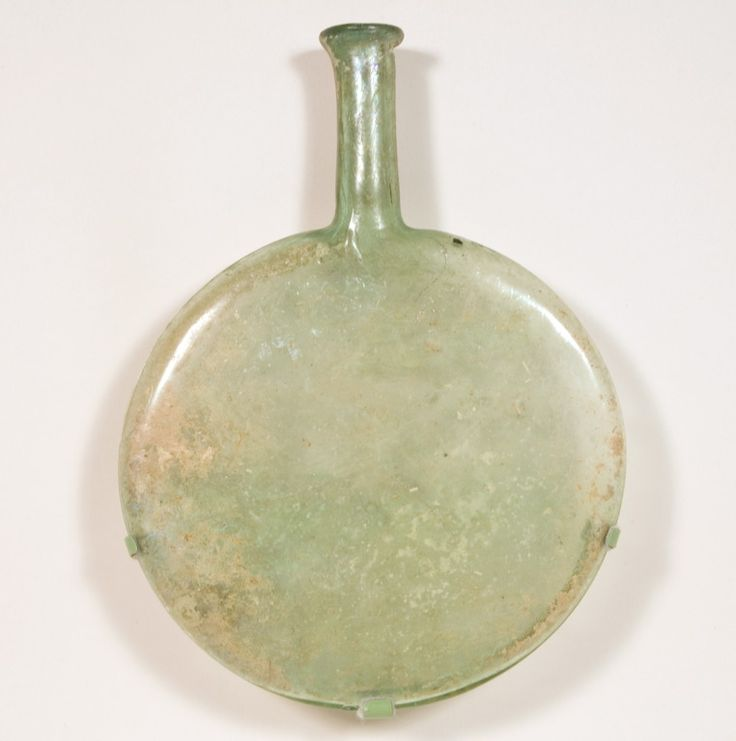 """5th - 6th AD Roman blown glass flat flask from eastern Mediterranean. 23 x 17.1 x 2.8 cm (9"""" x 6 3/4"""" x 1 1/8""""). Gift of Theodore W. and Frances S. Robinson, 1949.1114"""