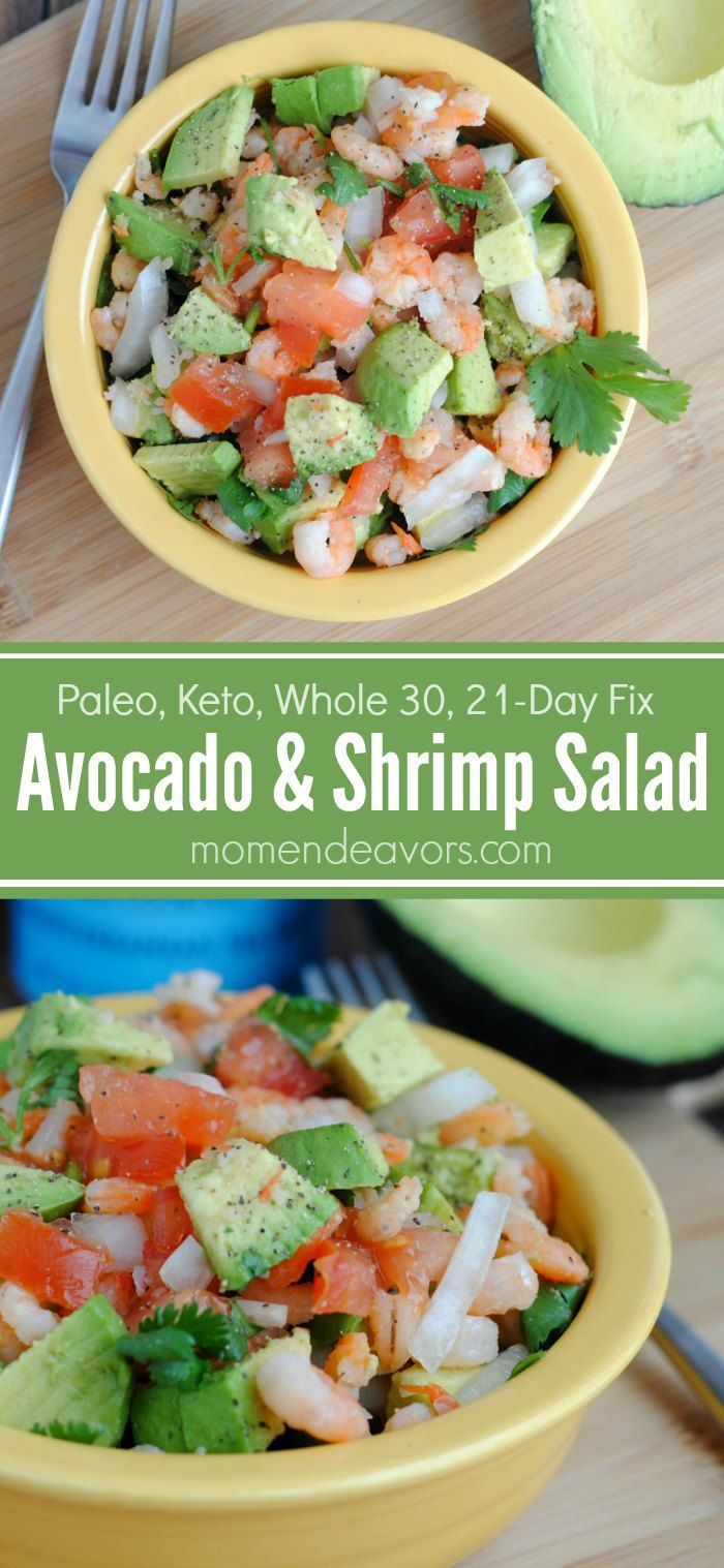 Avocado & Shrimp Salad - a great quick & healthy recipe perfect for a clean-eating, gluten-free, paleo, keto, Whole 30, or 21-Day Fix meal plan!