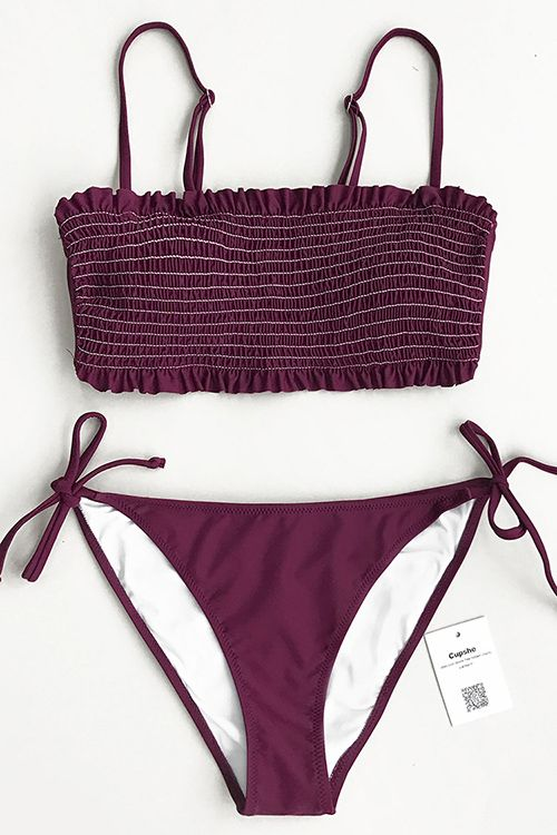 Treat yourself to something new. Tie at bottom sides and shirring design, Cupshe Violet Dream Solid Bikini Set is uniquely flattering and fascinating. FREE shipping! Update your wardrobe~
