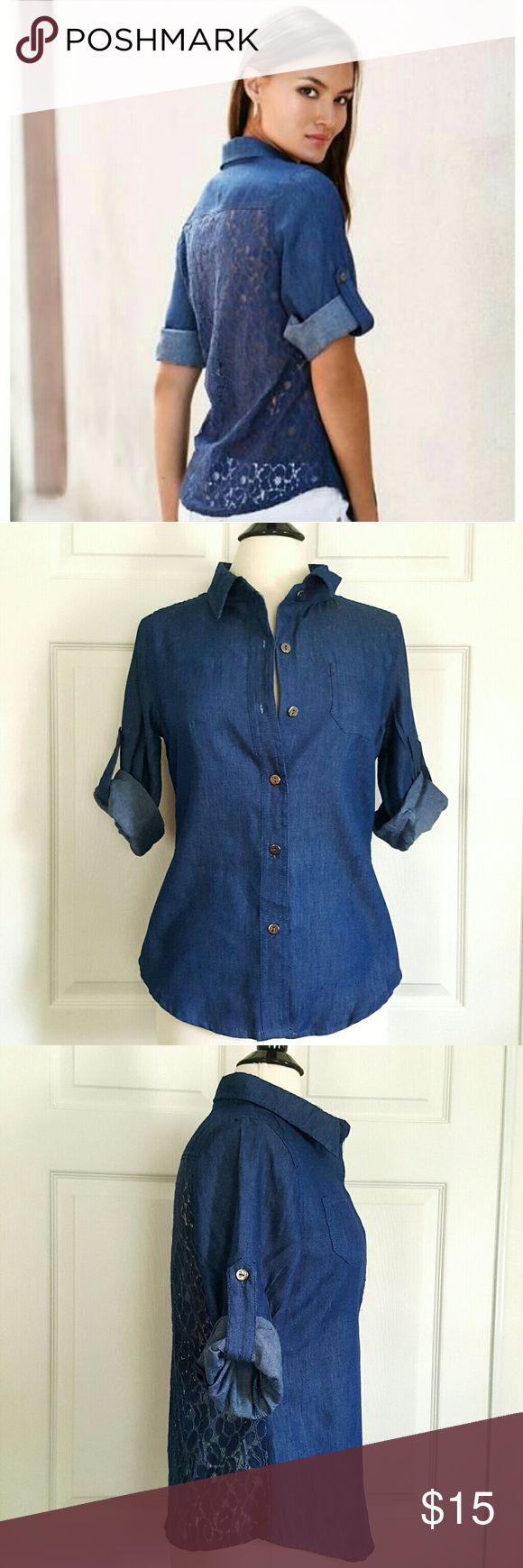"""BNWOT Body Central Women's Dark Denim Chambray Size Large   Bust - 20"""" Length - 24.5"""" Body Central Tops Button Down Shirts"""
