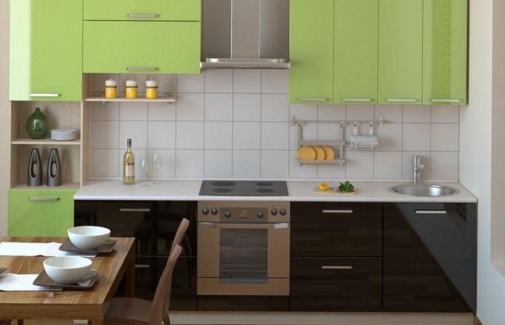 Оливковая кухня со светлой столешницей