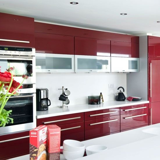 Hi-gloss burgundy red kitchen