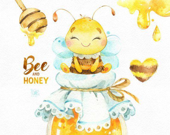 Biene und Honig. Aquarell Clipart, Kranz, Topf Honig, Bienenwabe, Bienenstock, Kindergarten, Natur, Babyparty, Hummel, Grußkarte, Baby, Kinder