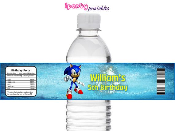 SONIC Birthday Party Water Bottle Label by iPartyPrintables, $3.00