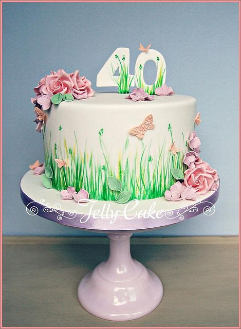 17 best ideas about birthday cakes women on pinterest for Garden theme cake designs