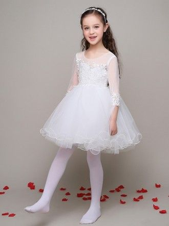 5a3162e89a Short Ball Gown Tulle Lace Flower Girl Dress with 3 4 Sleeves  EFL04 ...