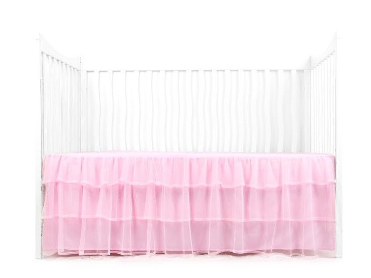 Dress your little ballerina's bed or crib in a tutu. Three layers of the prettiest petticoat-worthy tulle to make your daughter's bed dance. Available in pink and white. - Fits all standard size cribs