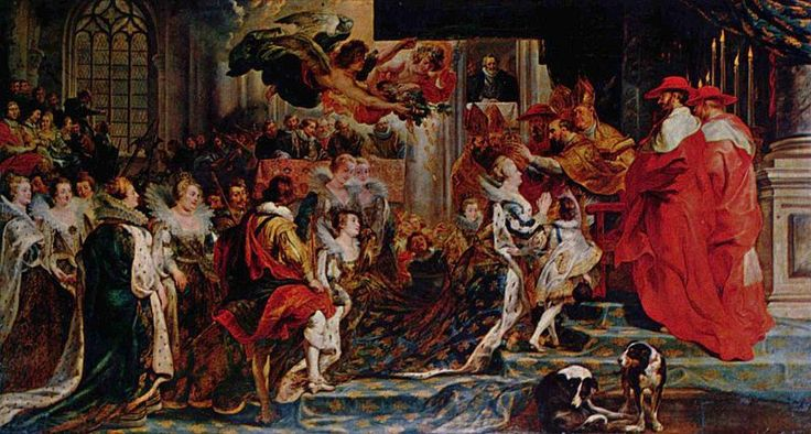 'The Coronation in Saint-Denis'. This painting is a representation of an historical event in the life of the Queen where the King and the Queen were crowned at the basilica of Saint-Denis in Paris. Show Marie de' Medici receiving the orb of state. She is conducted to the altar by the Cardinals Gondi and de Sourdis, who stand with her along with Mesieurs de Souvrt and de Bethune. The ceremony is officiated by Cardinal Joyeuse.    Peter Paul Rubens  ca 1622–1625