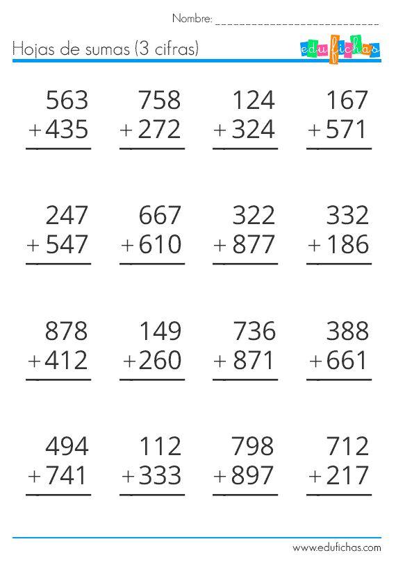 sumas de 3 cifras   Matematicas tercer grado, Actividades
