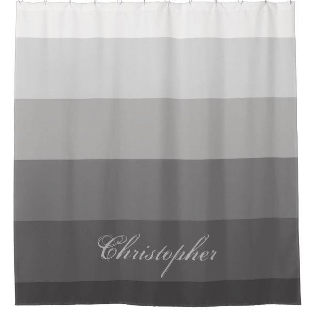 Modern Geometric Gradient Gray With Custom Name Shower Curtain
