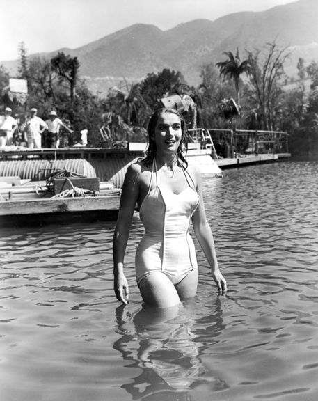 "Julie Adams on set of ""Creature from the Black Lagoon"""