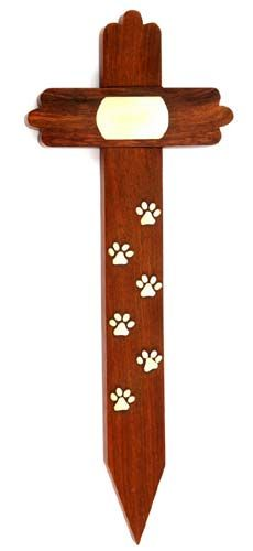 Beautiful memorial plaques for pets that you can put in your garden. Rosewood cross pet grave marker with brass paws and plaque.