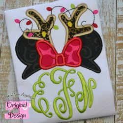 Miss Mouse Reindeer Topper Applique