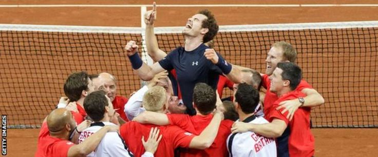 Andy Murray and the Great Britain team celebrate winning the 2015 Davis Cup