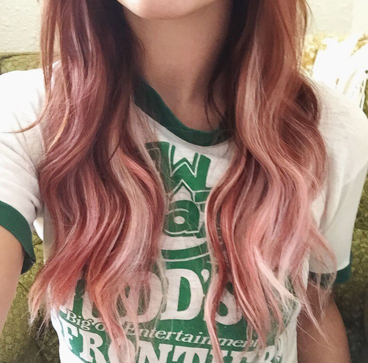 Rose gold / dusty pink / rose / peach / light pink wavy hair