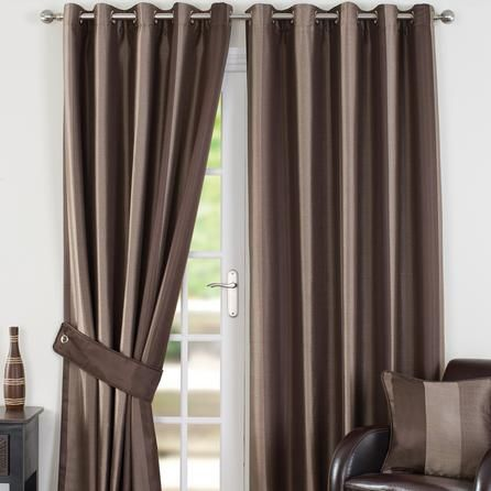 Dunelm Monaco Dark Brown Polyester Eyelet Curtains (W 168cm (66'') x Drop 274cm (108''))