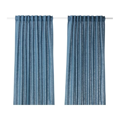 IKEA - AINA, Curtains, 1 pair, , The curtains lower the general light level and provide privacy by preventing people outside from seeing directly into the room.Linen gives the fabric a natural, irregular texture and makes it feel firm to the touch.The curtains can be used on a curtain rod or a curtain track.The heading tape makes it easy for you to create pleats using RIKTIG curtain hooks.You can hang the curtains on a curtain rod through the hidden tabs or with rings and hooks.