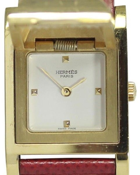 Hermes Medor Stainless Steel/Gold Plated & Leather Quartz 23mm Womens Watch