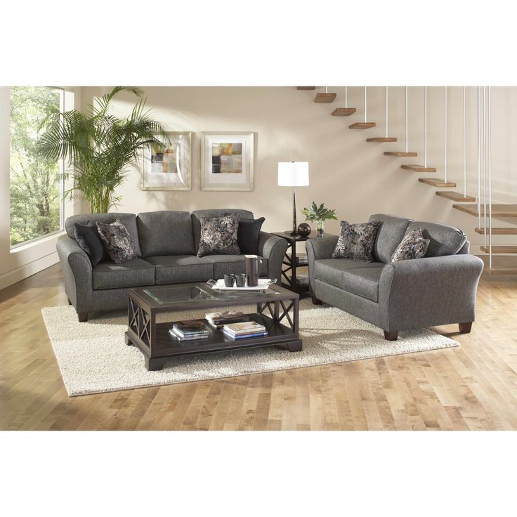 Elmira Pewter Upholstered Sofa and Loveseat Set with Pillows