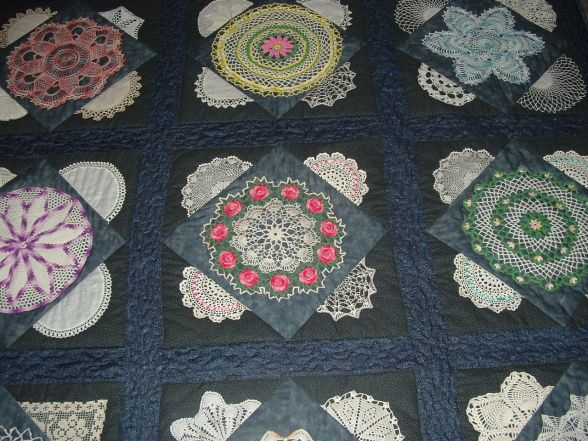 Vintage Doily Quilt, Gather up your old doilies and put them into a quilt!  These doilies came from my Mom, Mother in Law's, Grandmother, an...