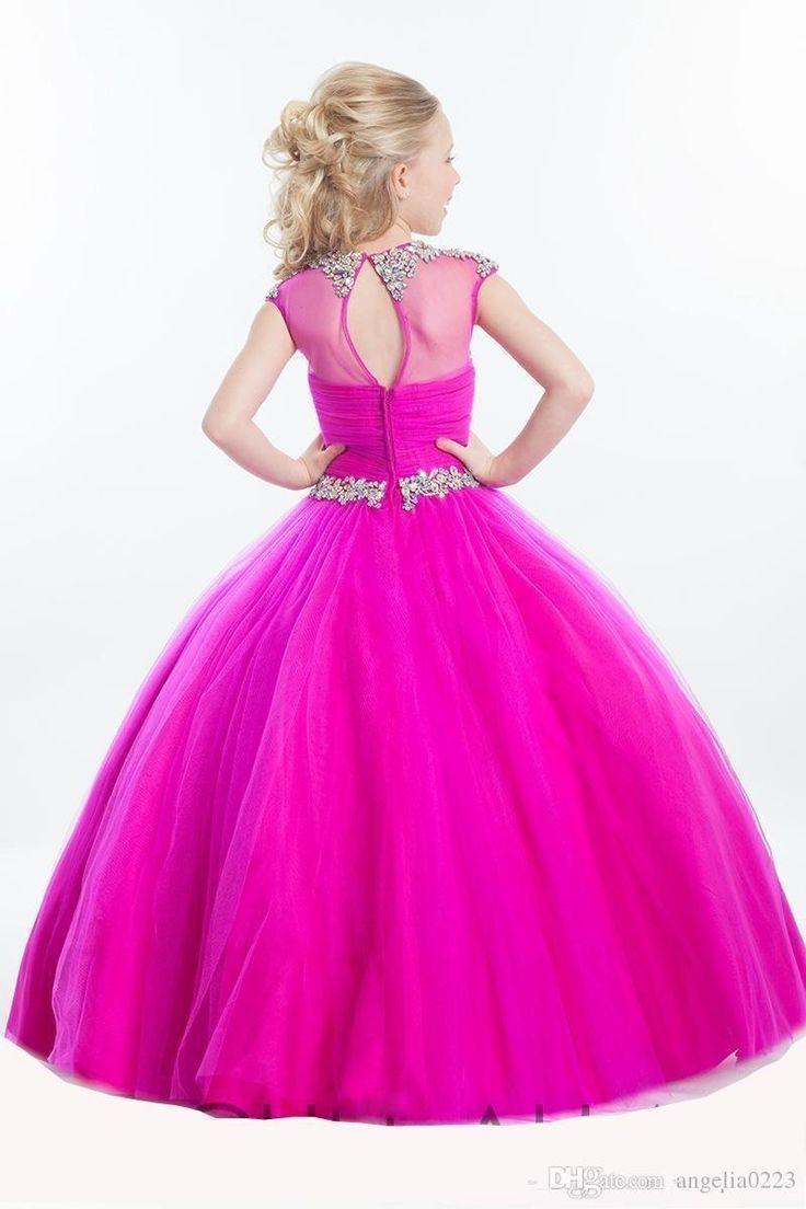 2016 Fuchsia Tulle Girls Pageant Dresses Crystal Beaded Jewel Rachel Allan Pageant Gowns Floor Length Flower Girls Dresses For Weddings