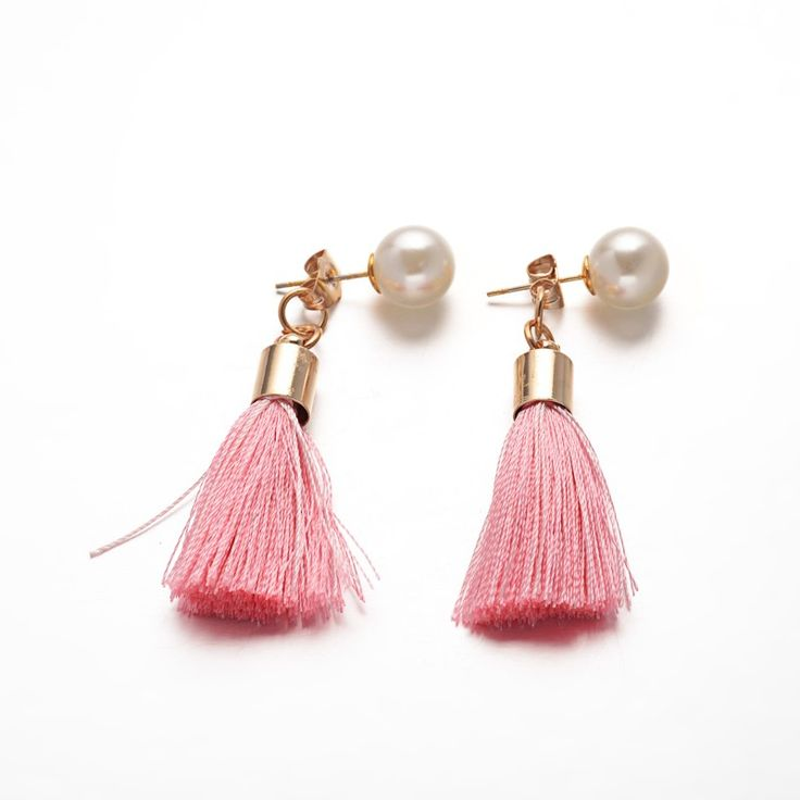 Cotton Thread Tassels Ball Stud Earrings from Pandahall.com