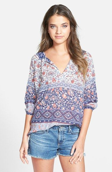 Velvet by Graham & Spencer Bracelet Sleeve Print Top available at #Nordstrom