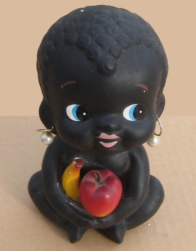 Vintage Black Americana 1950s BLACK CHILD w FRUIT earrings NODDER BANK