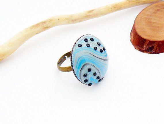 Gray blue and black ring  polymer clay jewelry by spikycake, $15.00