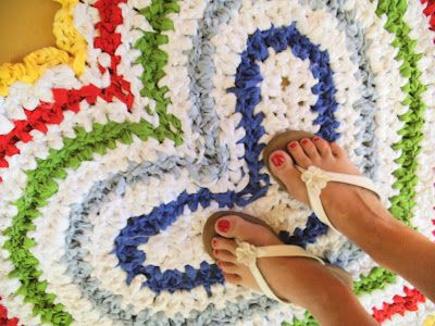 Rag Rug crocheted from sheets