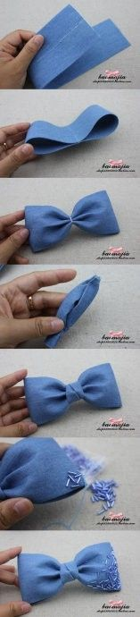 Material antigo transformação: Velhos Jeans em acessórios para Cabelo