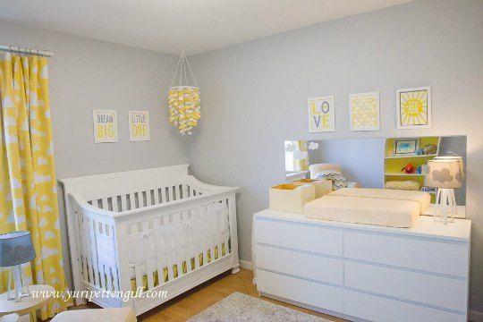 Dormitorio gris, blanco y amarillo